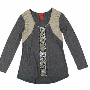 V Christina Grey Sequin and Lace Grey Knit Top